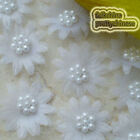 White Organza Flower With Cluster Beads Appliques Sewing Scrapbooking Trim JM7B
