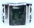 Mens Sterling SILVER Rings Moss Agate 925 Ring NEW Sizes 6 to 15; M to Z+3 NEW