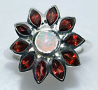 Sterling 925 SILVER Rings Fire OPAL Garnet Multi Gemstone Ring NEW; Sizes M to U