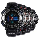 OHSEN LCD Dual Time Mens 5 Colors Sport Date Backlight Rubber Band Wrist Watch