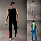 MENS MESH LONG JOGGING RUNINIG PANTS & TANK VEST TOP SPORTSWEAR SET TRACKSUIT