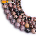 "Natural Genuine Round Rhodonite Jewelry Making Gemstone Beads 15"" Size Pick"