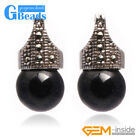 G-Beads Fashion 12mm Round Ball Beads Marcasite Silver Dangle Stud Hoop Earrings