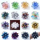 1PC Faceted Crystal Glass Teardrop Flower Bead Party Finger Ring Fashion Jewelry
