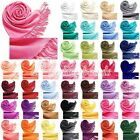 Women's Cashmere Blend Solid Tassels Sun Block Scarf Long Shaw Wrap 30 Colors