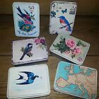 Vintage little Storage Tins Birds Map Floral Shabby pretty chic Gift Home