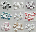 20PCS SILVER square Czech CRYSTAL SPACER BEADS 8mm Variety of colors
