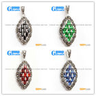 fashion crystal beads oval frame Marcasite silver pendant FREE gift box +chain