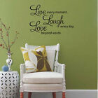 Live Laugh Love Butterflies Quote Wall Art Stickers Decal