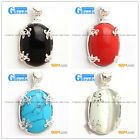 Fashion 20x36mm oval beads silver pendant 1 pcs FREE gift box +necklace chain