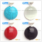 Fashion colorful coin beads silver pendant 30 x 41mm  FREE box + necklace chain