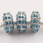 Lot Peacock Blue Crystal 18KGP Charms Beads Fit European Bracelet