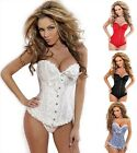 5 Colors Sexy Lace Up Back Satin Boned Corset Bustier G-string Plus Size S-6X
