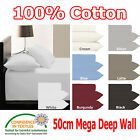 50cm Deep Wall - Super KING - Fitted Sheet & 2 Pillowcases Set 100% COTTON