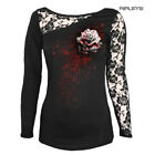 SPIRAL DIRECT Ladies Black Goth WHITE ROSE Lace Top L/Sleeve All Sizes