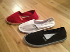 Ladies Girls Canvas Beach Espadrilles Shoes Red White Black Sizes 3 4 5 6 7 8