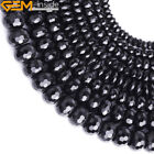 "Natural Black Agate Gemstone Beads For Jewelry Making 15"" Faceted Rondelle"