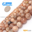 "Fashion round sunstone jewelry making loose beads 15"" 4/6/8/10/12mm selectable"