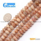 "Smooth Facted Sunstone Gemstone Rondelle Beads For Jewelry Making 15"" Strand"