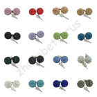 New Austrian Crystal Pave Disco Clay Charms Ball Beads Ear Stud Earrings 10 mm