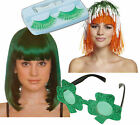 Irish St Patricks Day Ladies Fancy Dress Wig Green Eyelashes Shamrock Sunglasses