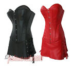 Faux leather lace up Boned Basque Bustier TOP Mini skirt G-string Plus UK 6-24