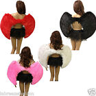 FEATHER ANGEL WINGS FANCY DRESS ACCESSORIES HALLOWEEN HEN NIGHT BLACK WHITE RED