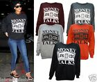 Sweatshirt Damen Promi Rihanna Inspiriert Money Talks Bedruckt