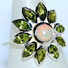 Fire OPAL Peridot Sterling SILVER Ring Multi Gemstone 925 Rings Size 5½ L - 10 U