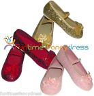 Girls Glitter Sparkly Party Ballet Pumps Shoes Fancy Dress Gold Pink Red 6 Sizes