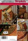 Simplicity Sewing Pattern 1577 Christmas Holiday Tree Skirt Stockings NEW