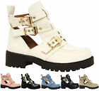 Ladies Womens Mid Heel Buckle Strap Cut Out Chunky Biker Ankle Boots Shoes Size