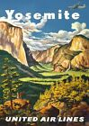 TA8 Vintage United Airlines Yosemite USA Travel Poster Re-Print A1/A2/A3/A4