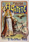 AV63 Vintage 1898 French Acatène Chainless Bicycle Advertisement Poster A1/A2/A3