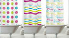 Modern Makeover . Bright Contemporary Shower Curtain with Rings  180 x 180 cm