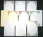 5  A5 'FLEUR-DE-LYS'  CARD BLANKS  HOLOGRAPHIC BORDER  5 COLOURS  & ENVELOPES