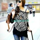 Fashion Women Geometric Crewneck Batwing Loose Knitted Blouse Casual Top L XL