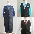 Boy baby toddler teen black vest and tie set royal marine aqua pool blue red tie