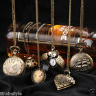 Long Chain Style Retro Vintage Bronze Display Necklace Metal Quartz Pocket Watch