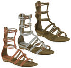 WOMENS LADIES ANKLE ZIP STRAPPY WEDGE SUMMER FLAT GLADIATOR SANDAL SHOES SIZE