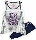 Womens Print Pyjamas Night Wear Pyjama Set Vest Top Long Bottoms Plus Size 8-20