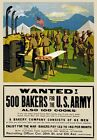 W48 Vintage WWI Wanted Cooks & Bakers War Recruitment Poster WW1 A1/A2/A3/A4