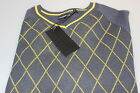 Golf Junkie Jumper Yellow Black Diamond Navy Yellow Diamond Funky Trendy S-XXXL