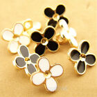 Novelty Four Leaf Clover Shank Button  Metal For Sewing Embellishments 12 Pcs