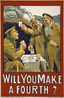WA122 Vintage WW1 Will You Make A Fourth Irish Recruiting War Poster A1/A2/A3/A4