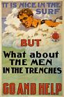 WA139 Vintage WW1 Nice In The Surf? Go Help Australian War Poster A1/A2/A3/A4