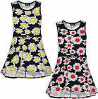 Girls Skater Dress Floral Print Kids Dresses Summer Party New Age 7 - 13 Years