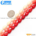 "Fashion 7x12mm Drip White Pink Red Coral Beads 15"" Jewelry Making Loose Beads"