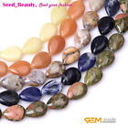 """13x18mm Flat Drop Natural Stone Loose Beads For Jewelry Making15"""" Beads in Bulk"""