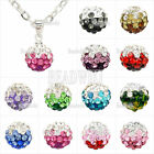 1 Iron Chain Multicolor Czech Crystal Rhinestones Disco Ball Necklace Pendant
